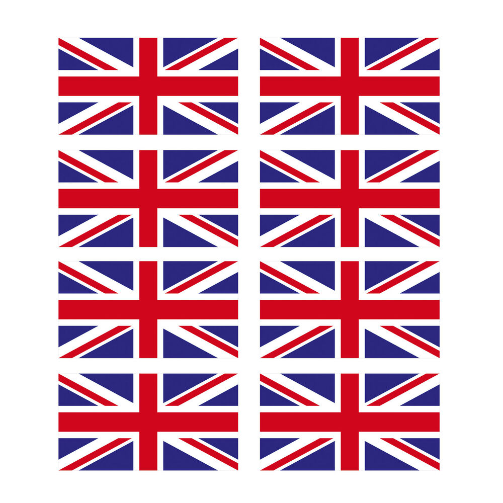 8 X Glossy Vinyl Stickers Union Jack Small Flag 1cm 10mm