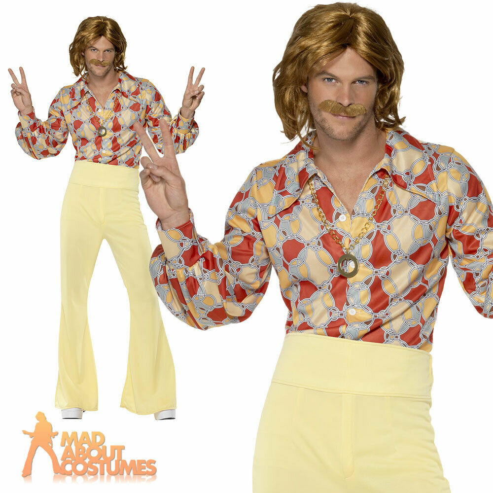 Groovy Guy 60s 70s Costume Disco Mens Abba Hippie Flares Fancy Dress Outfit Ebay