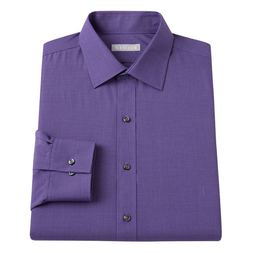New van heusen men 39 s fitted checked spread collar dress for Men s spread collar shirts