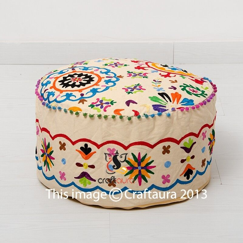 Indian Pouf Ottoman Pouffe Poof Round Pouf Foot Stool