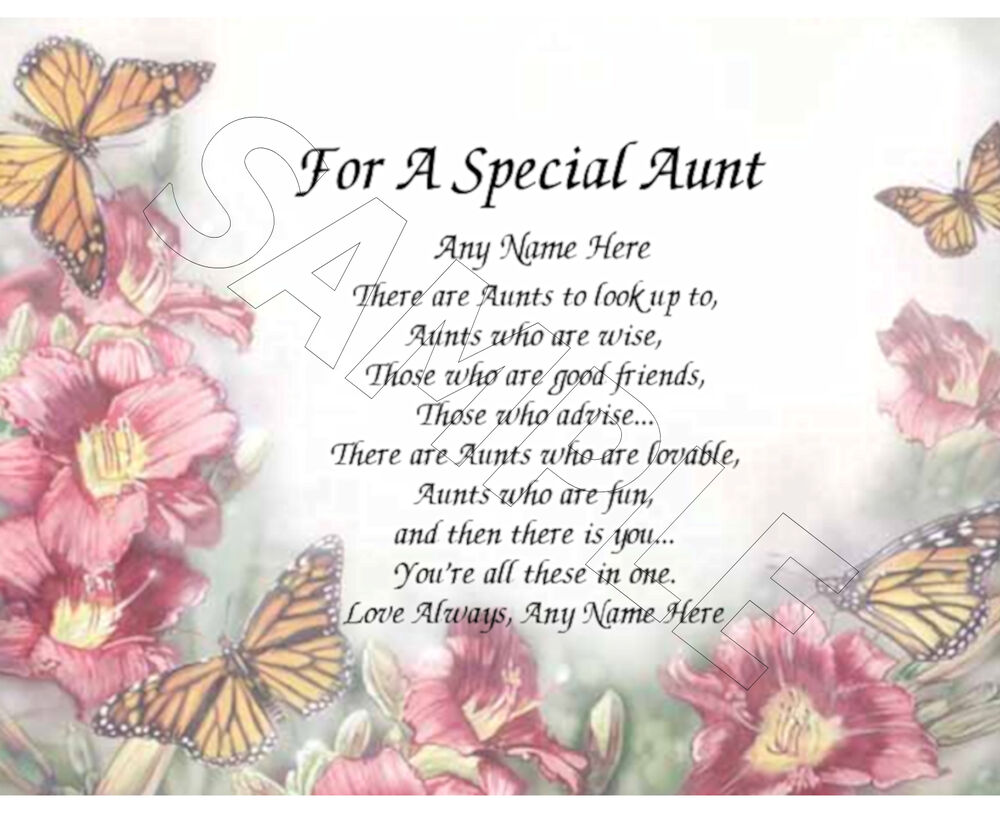 Beautiful Gifts For Mom Birthday: FOR A SPECIAL AUNT PERSONALIZED PRINT POEM MEMORY BIRTHDAY