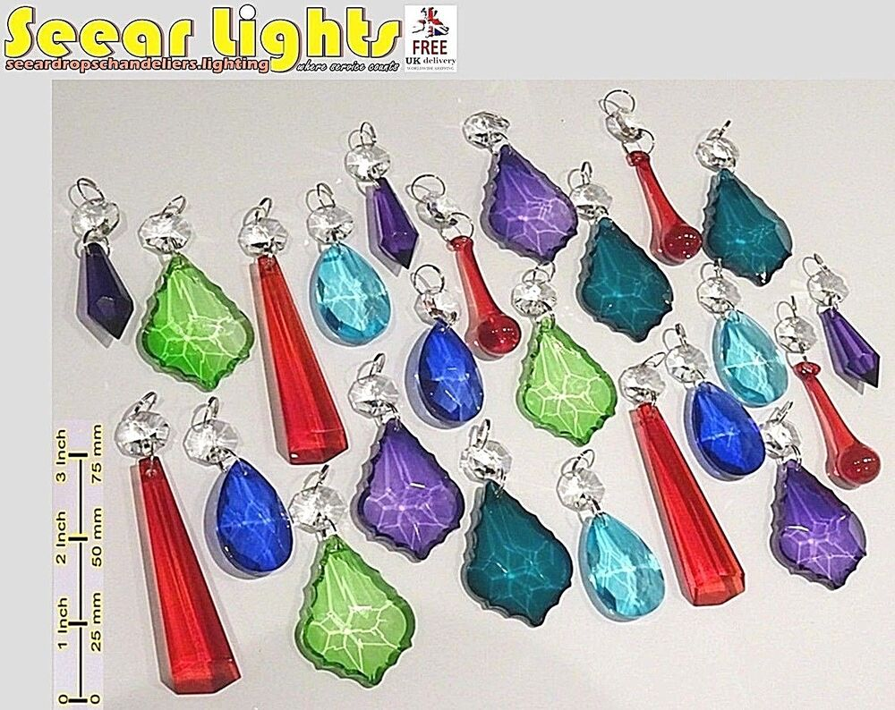 Chandelier Glass Crystals Color Droplets Beads Retro