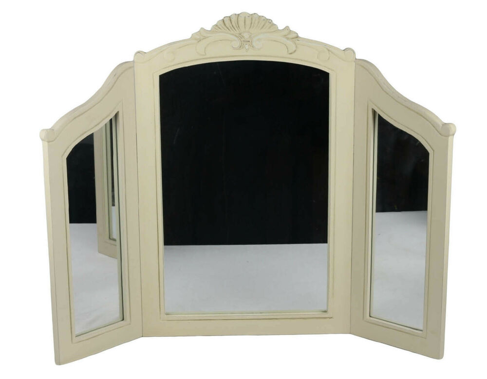 FRENCH COUNTRY TRIPLE DRESSING TABLE MIRROR SHABBY CHIC ...