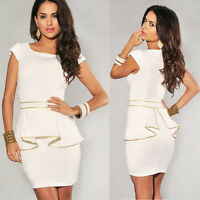 Women Ladies Gold Edge Peplum Bodycon Party Cocktail Casual OL Office Mini Dress