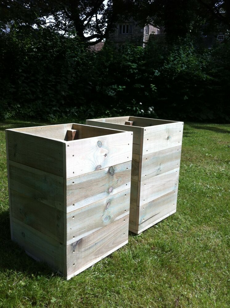 2 X Large Square Wooden Garden Planters