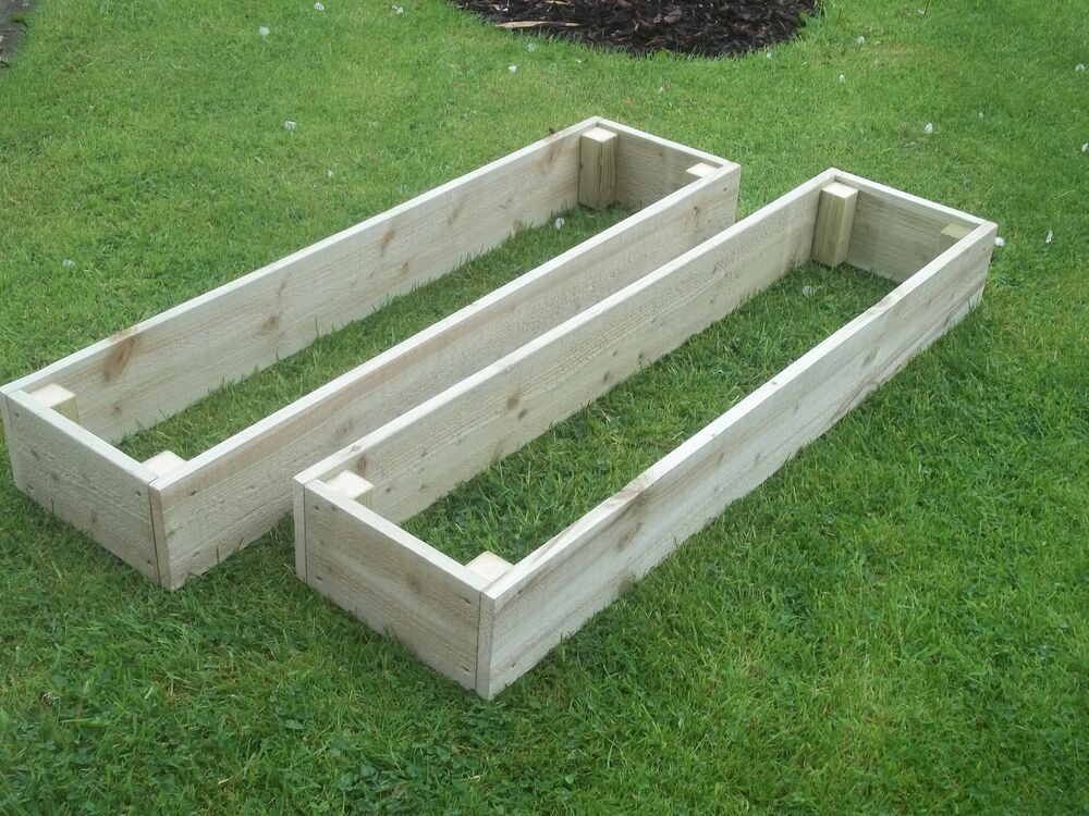 2x hand made wooden garden vegetable raised beds herb for Raised border edging