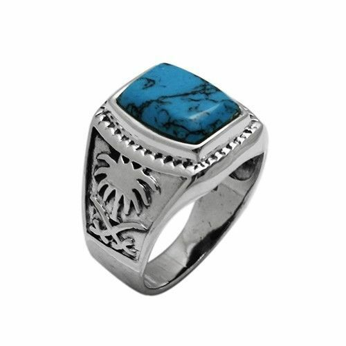 925 Sterling Silver 20mm Blue Turquoise Stone Men S Ring