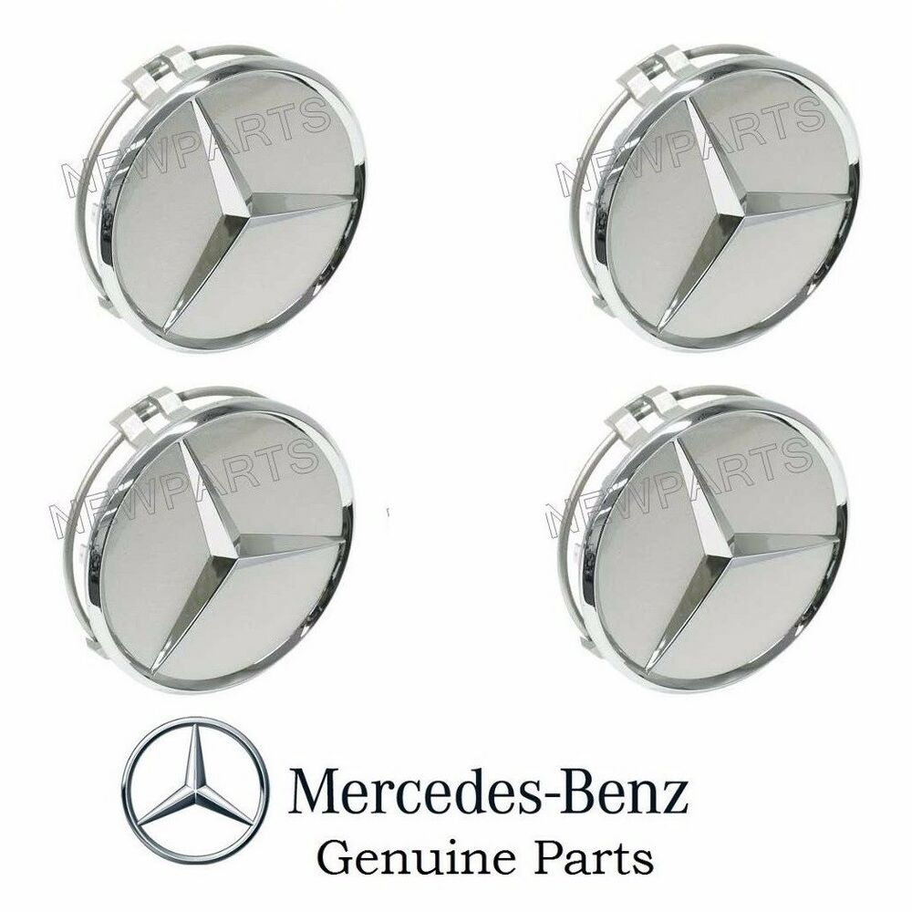 4 genuine mercedes alloy wheel center star cover emblem for Silver star mercedes benz parts