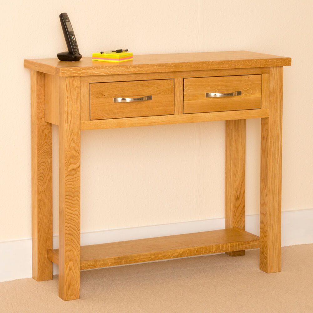Foyer Table Uk : Newlyn oak console light hall table two drawer