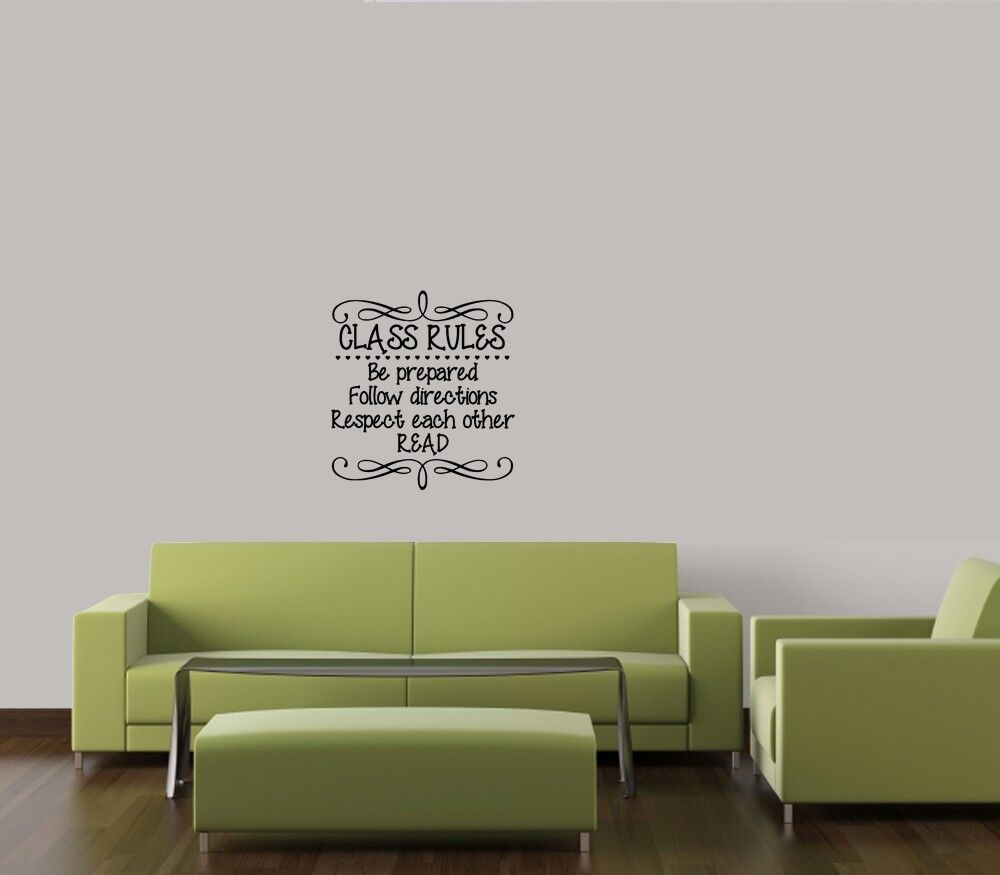 Class rules decal vinyl wall art quote lettering classroom for Vinyl wall art