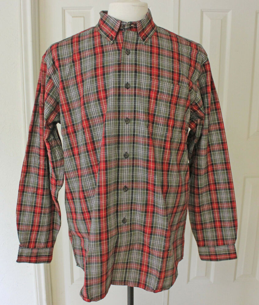 s vintage ll bean plaid shirt cotton sleeve shirt