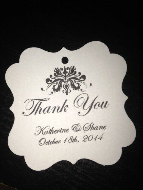 Wedding Favor Tags Elegant Damask Personalized Thank You Favor Tag Buy ...