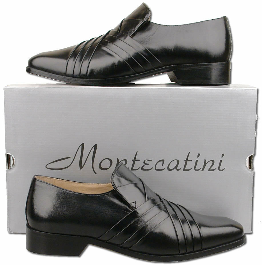 mens new black slip on leather designer formal shoes