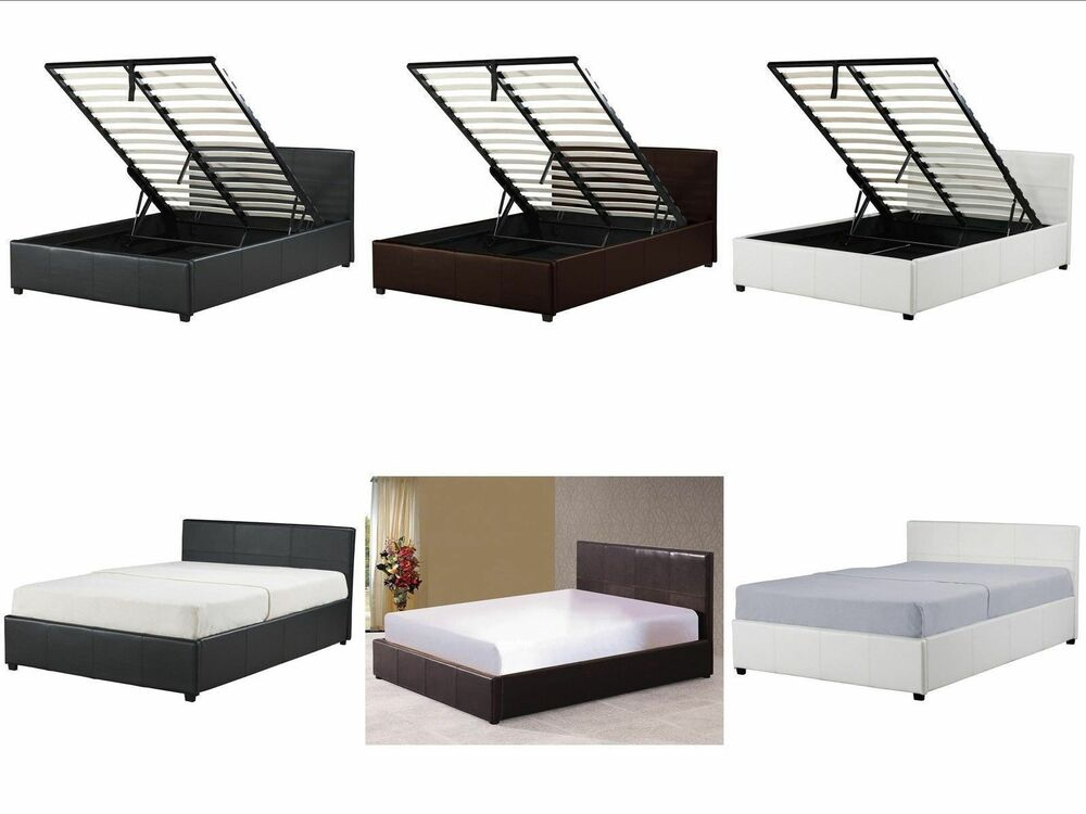 4ft small double ottoman storage bed black brown white for Double bed with storage and mattress