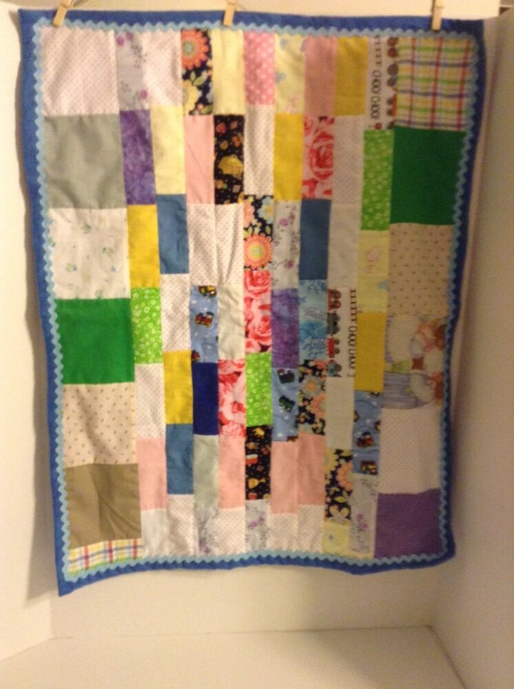 Handmade Patchwork Baby Quilt Blanket Gebder Unisex Blue Soft Flannel Backing eBay
