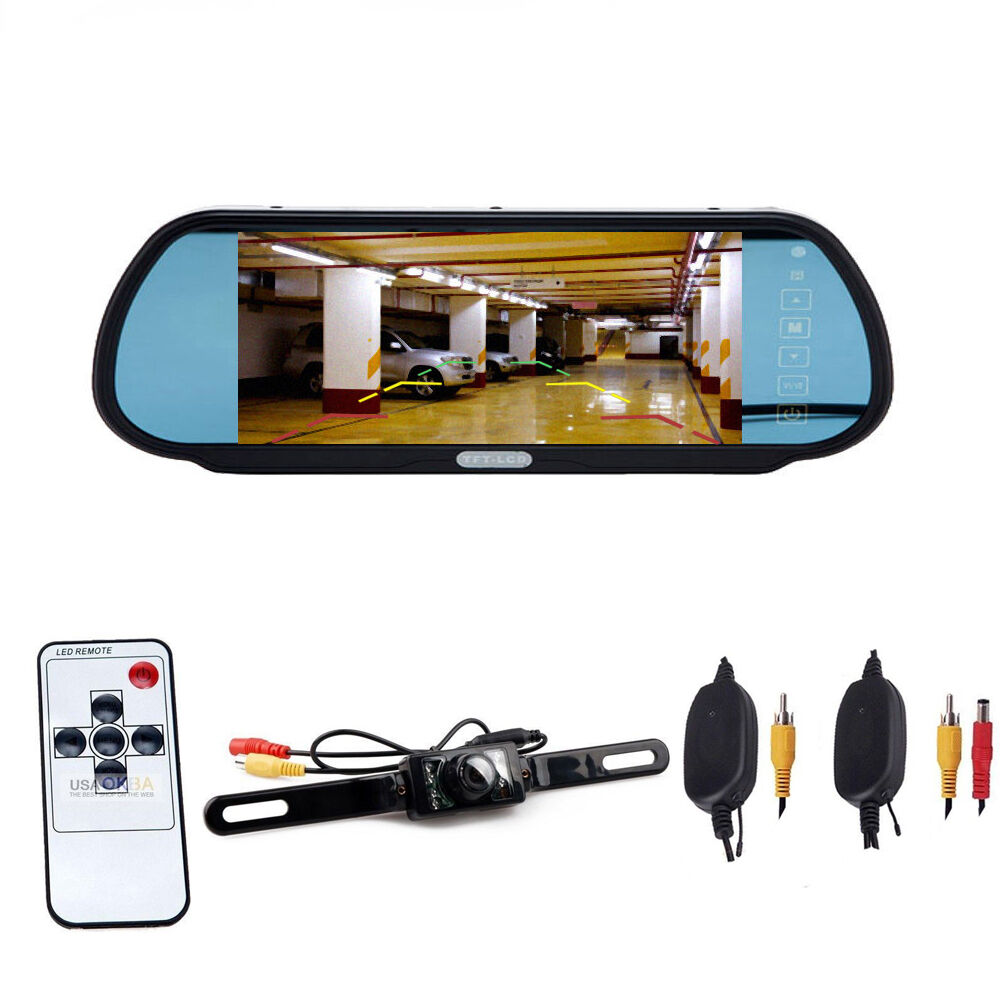 "7"" LCD Car Rear View Backup Mirror Monitor+Wireless"