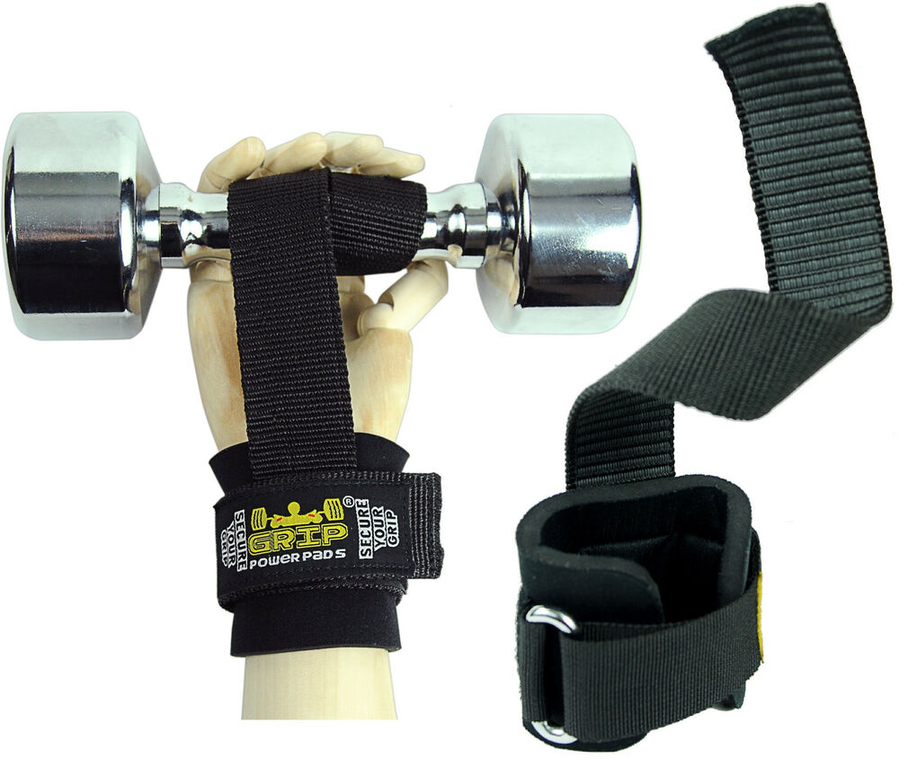 Quality Gym Weight Lifting Strap Heavy Duty Wrist: Lifting Straps Neoprene Padded Cotton Coated Rubber One