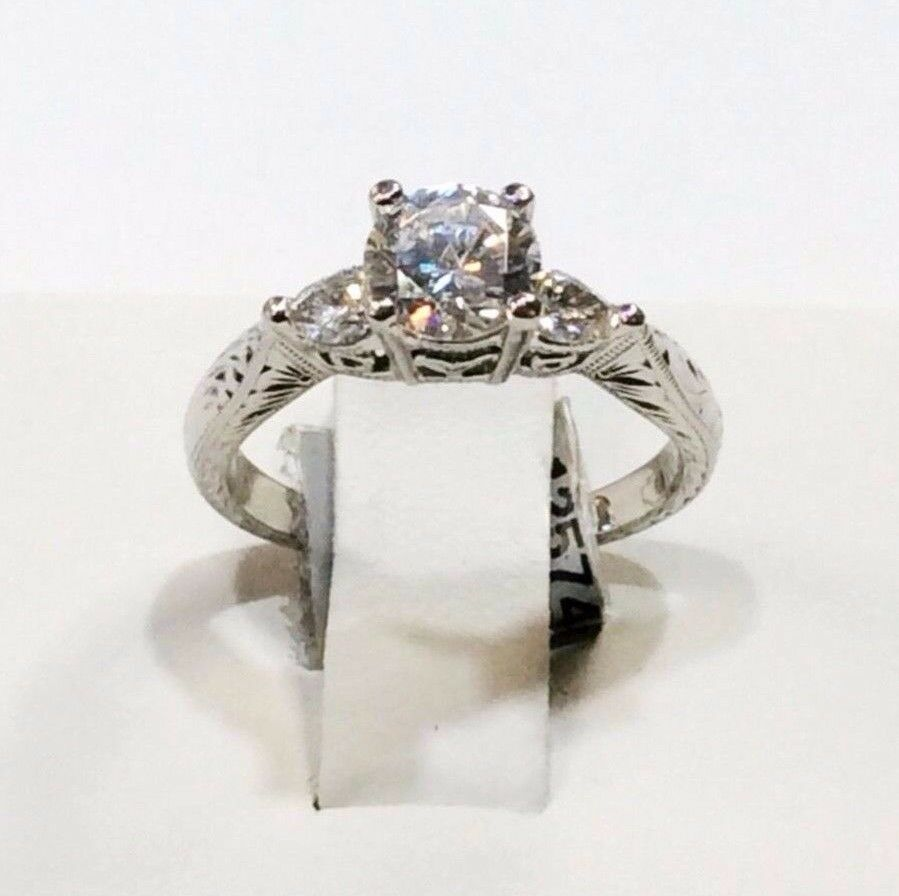Tacori diamond engraved platinum engagement ring ebay for Where can i sell my old wedding ring
