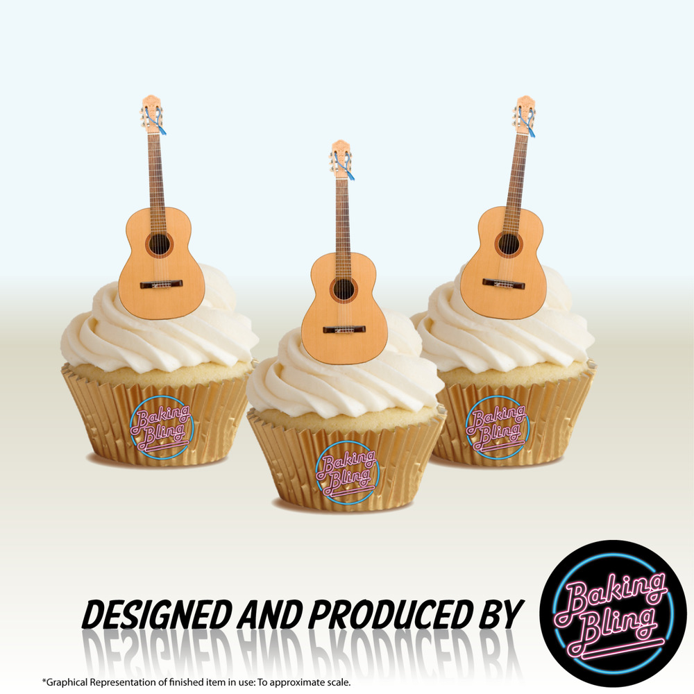 NOVELTY ACOUSTIC GUITAR 12 STAND UPS Edible Image Cake