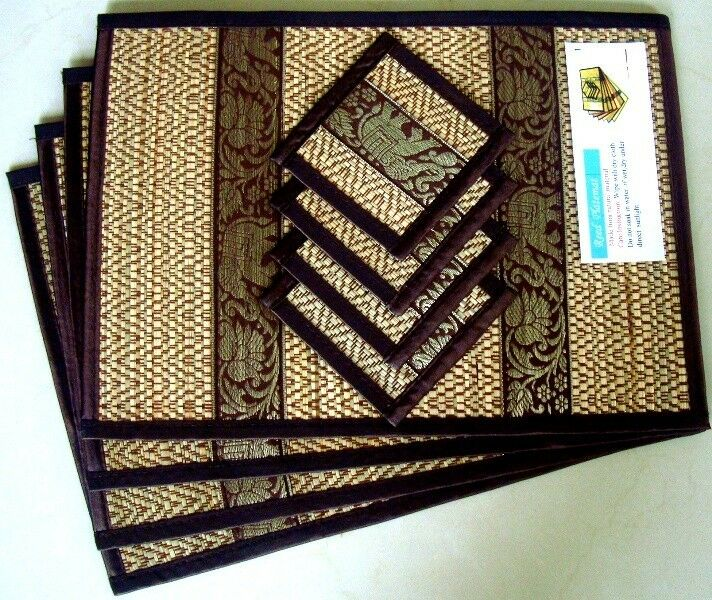 4 thai brown elephant silk and reed dining table mats for Glass table placemats