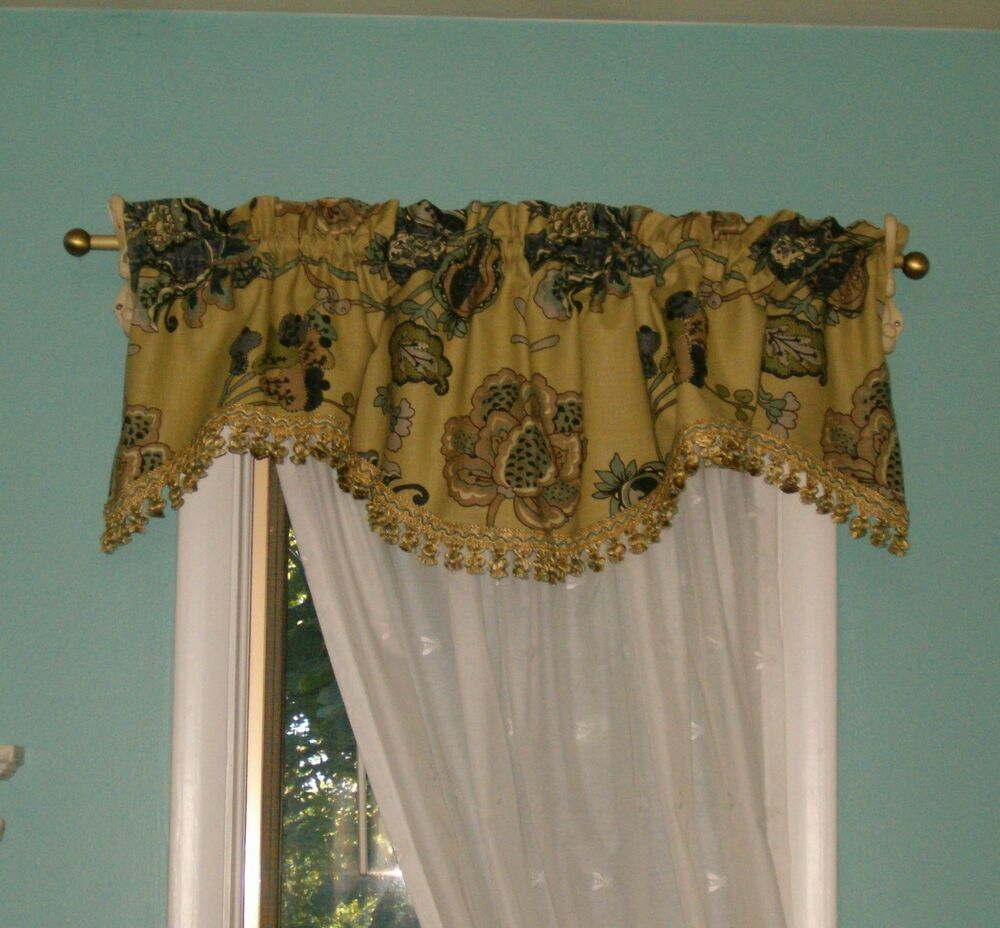 Scalloped Valances For Windows : Scalloped valance in leopold oyster fits windows quot to