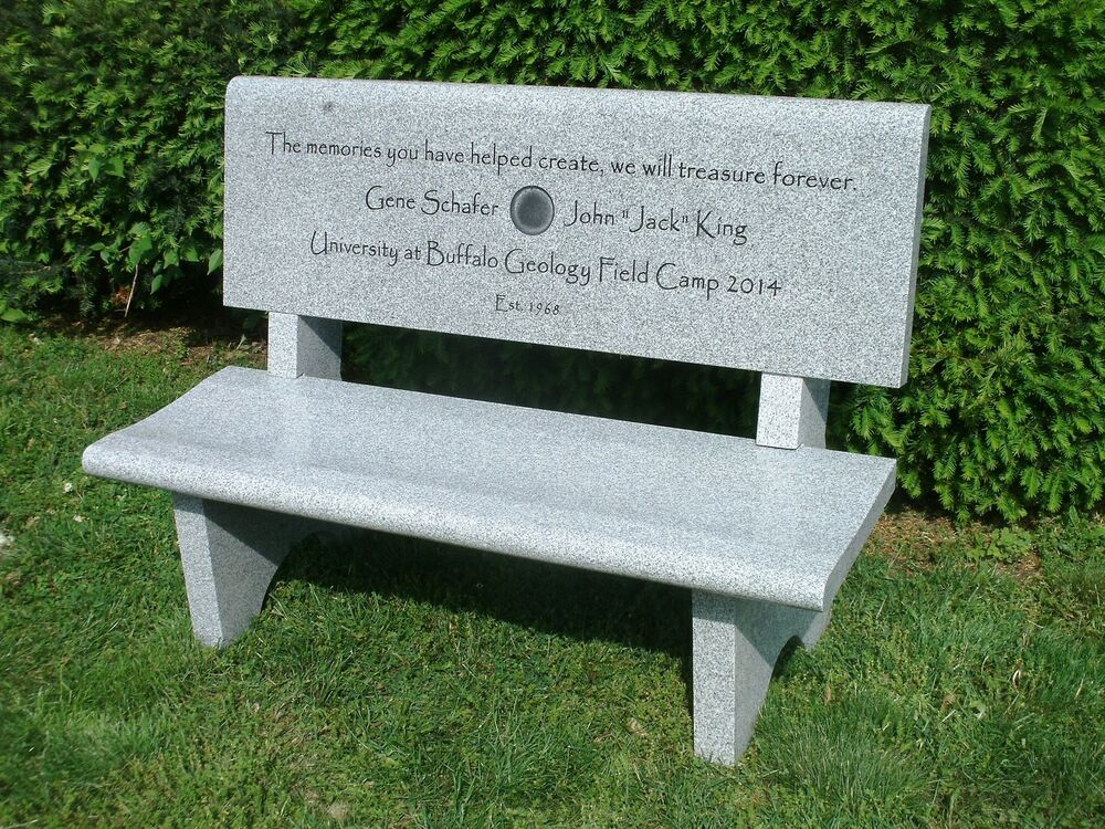 Granite memorial bench gray includes back carving up to 75 Cemetery benches