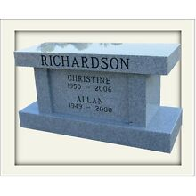 Cemetery cremation bench monument, 100% granite, gray includes engraving
