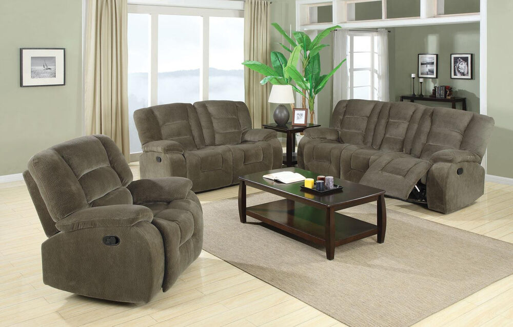 Casual Style Double Reclining Sofa Loveseat Rocker Recliner Living Room 600991 Ebay