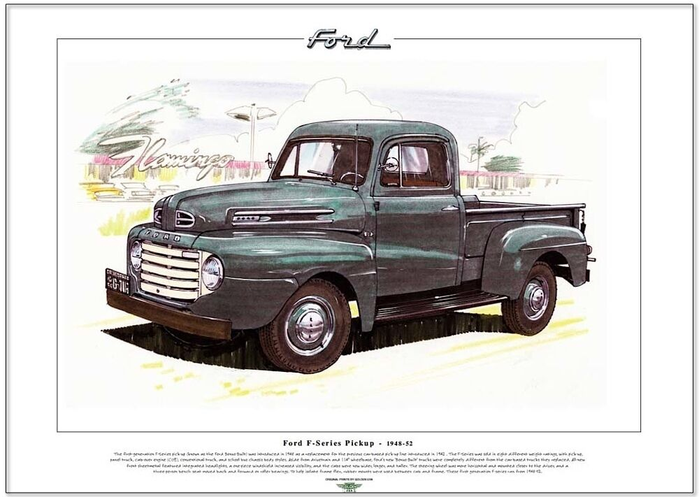 ford f series pickup 1948 52 art print a3 size 1st. Black Bedroom Furniture Sets. Home Design Ideas