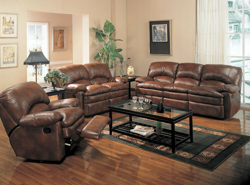 Sofa set dual recliner sofa bonded leather living room for Leather couch family room