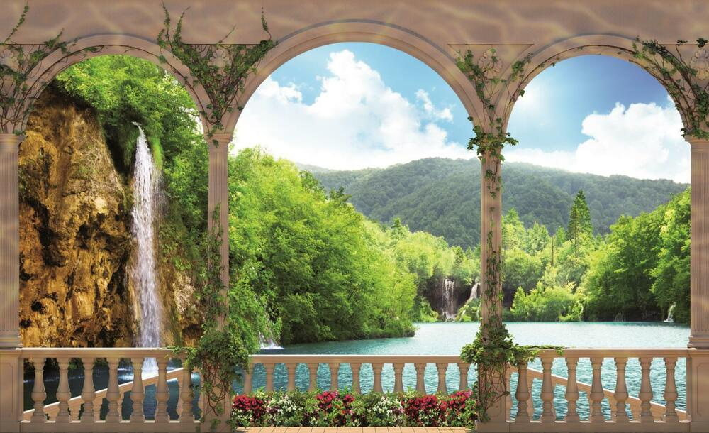 Arches landscape lake photo wallpaper wall mural room for Deer landscape wall mural