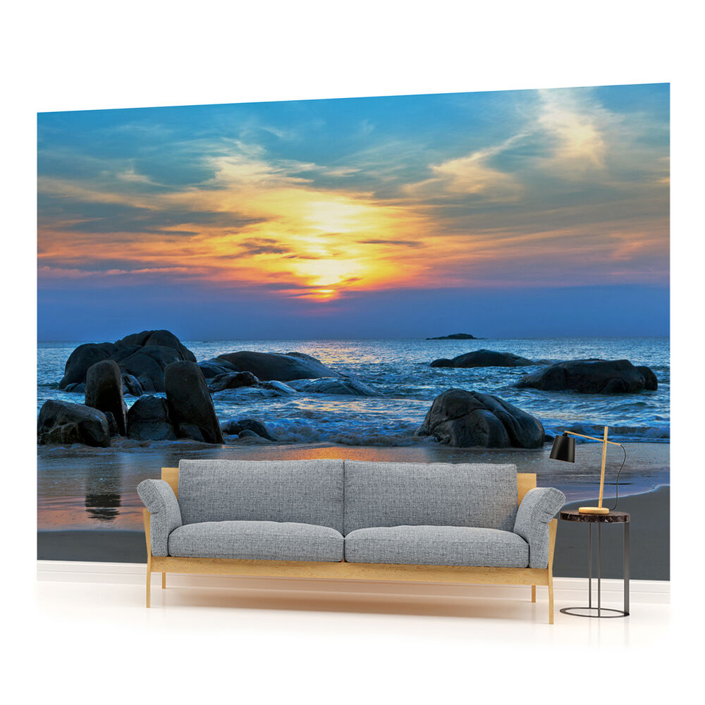 Wall mural photo wallpaper 170veve sea beach sand for Beach mural wallpaper