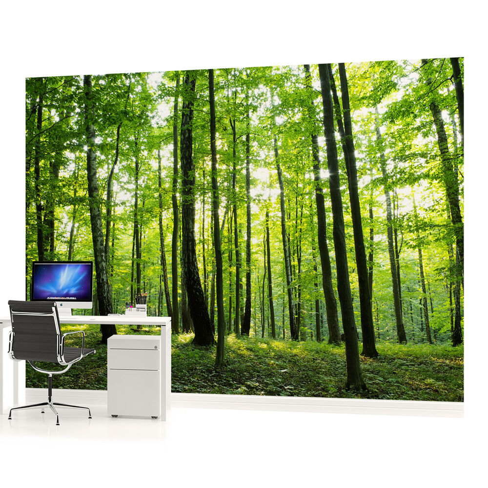 Wall mural photo wallpaper 186veve forest wood landscape for 1wall forest wallpaper mural