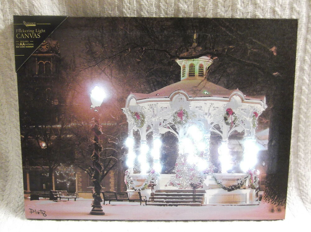 Lighted Canvas Wall Decor : Town square lighted canvas wall decor sign gazebo