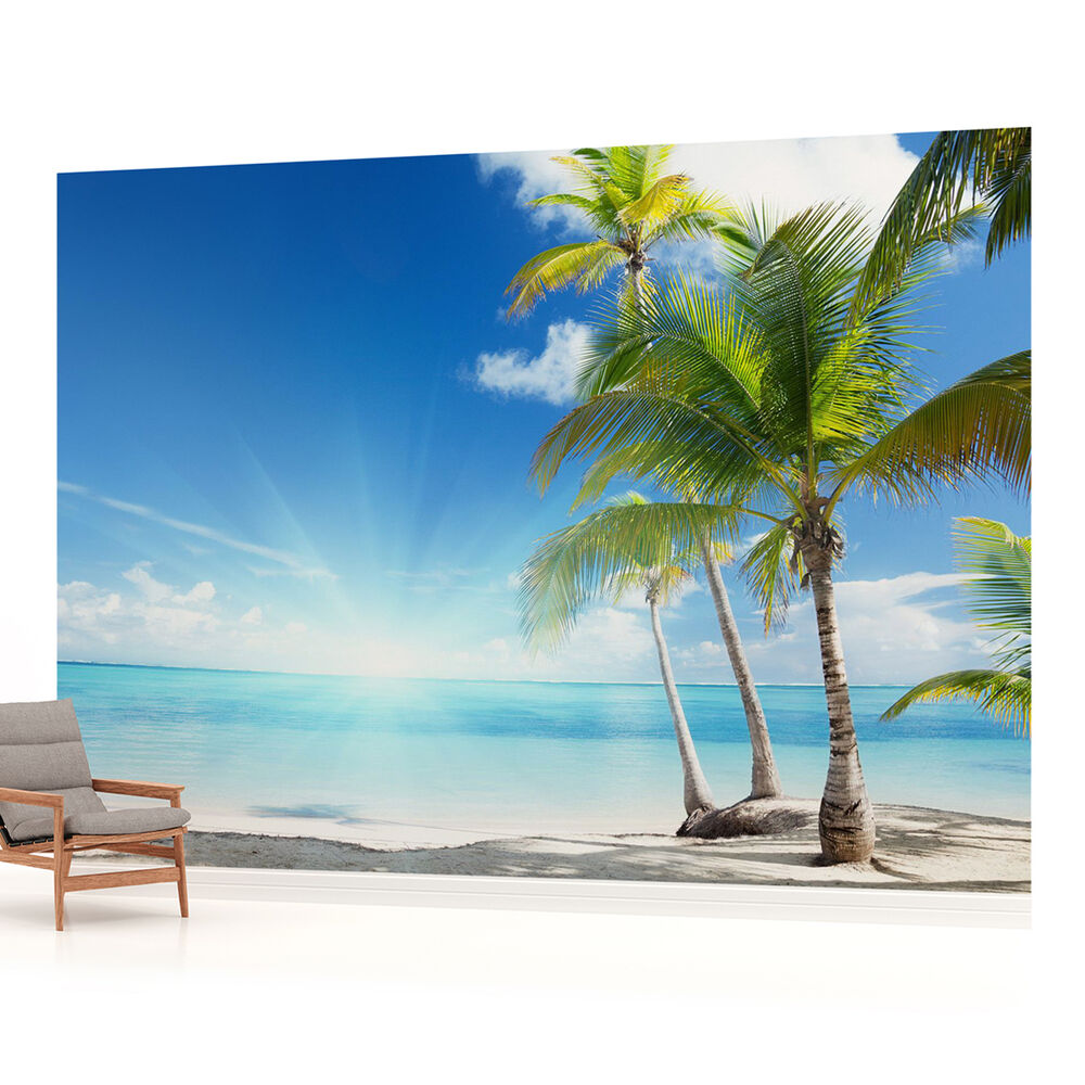 Beach sea sand tropical landscape photo wallpaper wall for Beach mural wallpaper