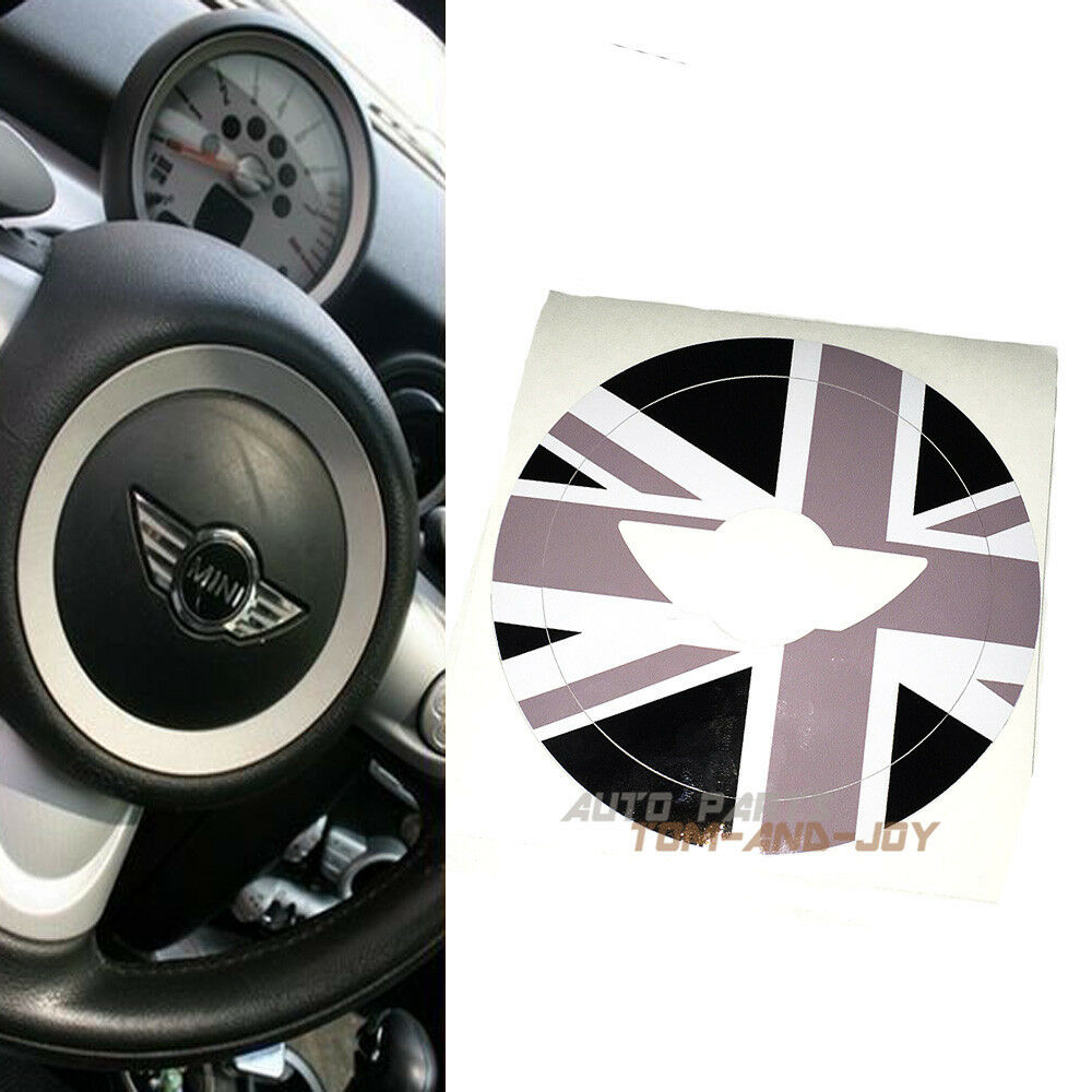 Black Union Jack Sticker Steering Wheel Central Decal For