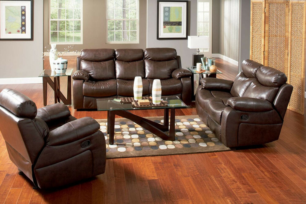 Modern Recliner Sofa Loveseat & Chair in Bonded Leather