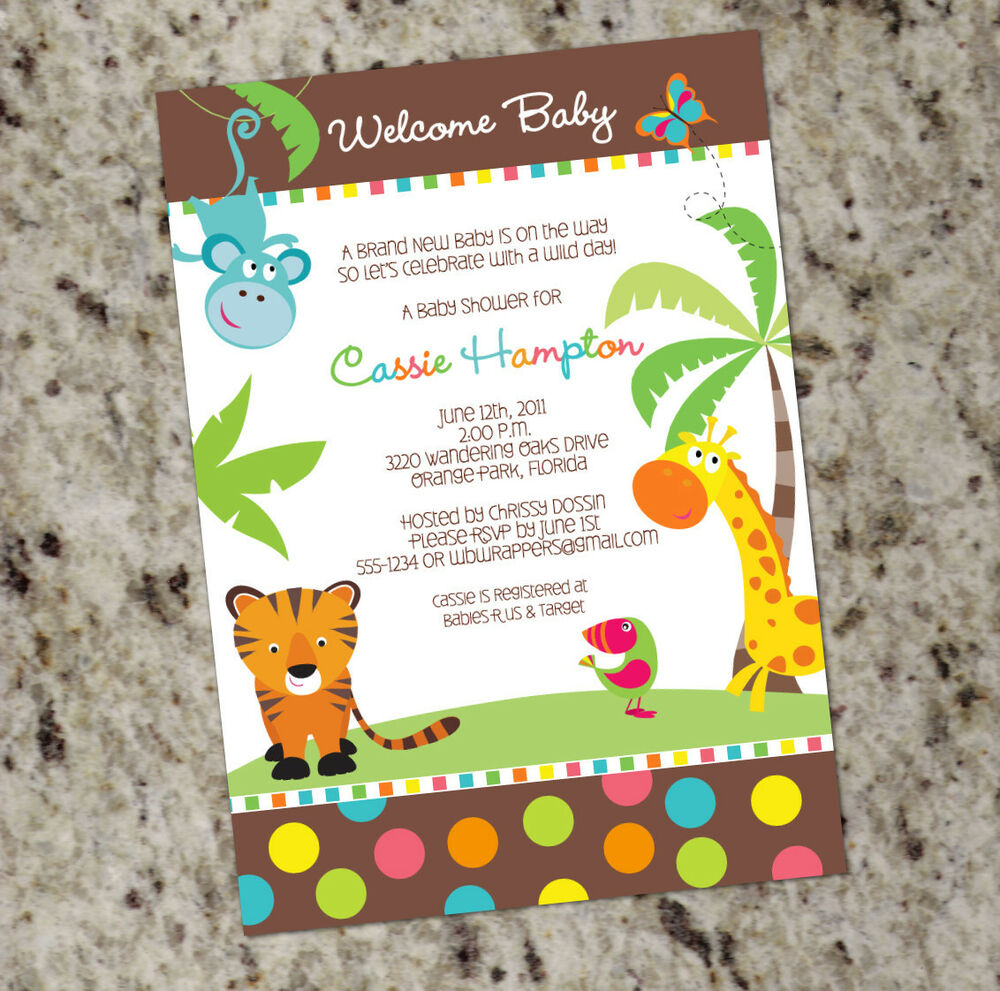 colorful safari themed baby shower invitations gender neutral