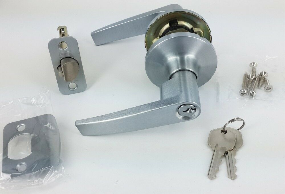 Handle Door Lock Keyed Alike Entry Door Lever Lock Set Satin Chrome EBay