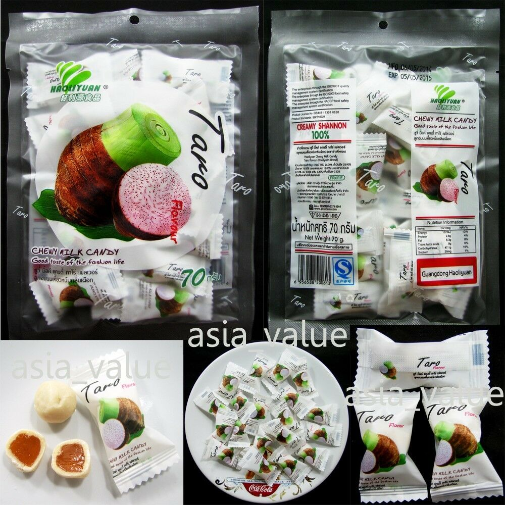 Thailand Fruit Wholesaler Email Mail: Chewy Taro Candy (67g.) Delicious Thai Fruit Premium Snack