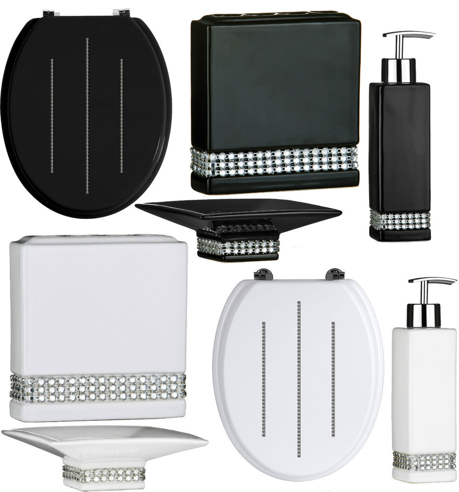 BATHROOM ACCESSORIES SET & TOILET SEAT BLACK AND WHITE ...