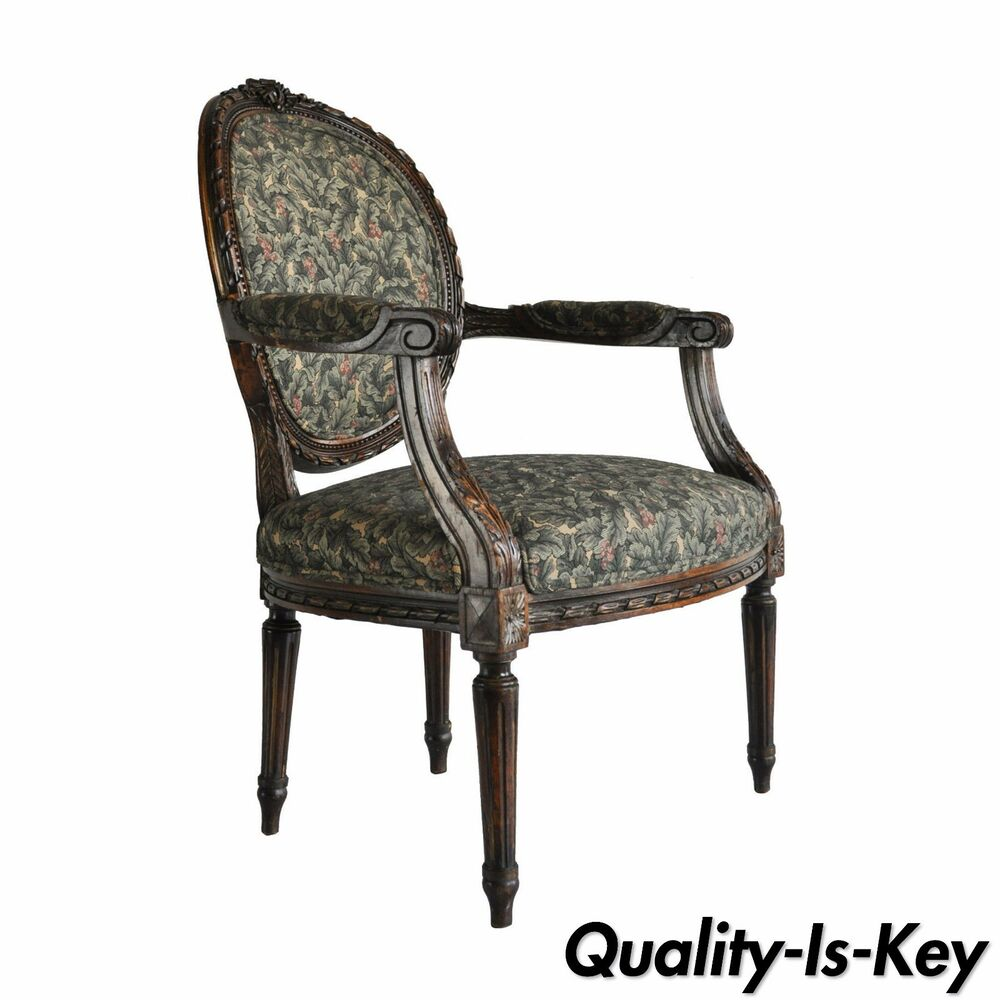 Vintage Armchair Styles: Vintage French Louis XVI Style Carved Walnut Fireside Arm