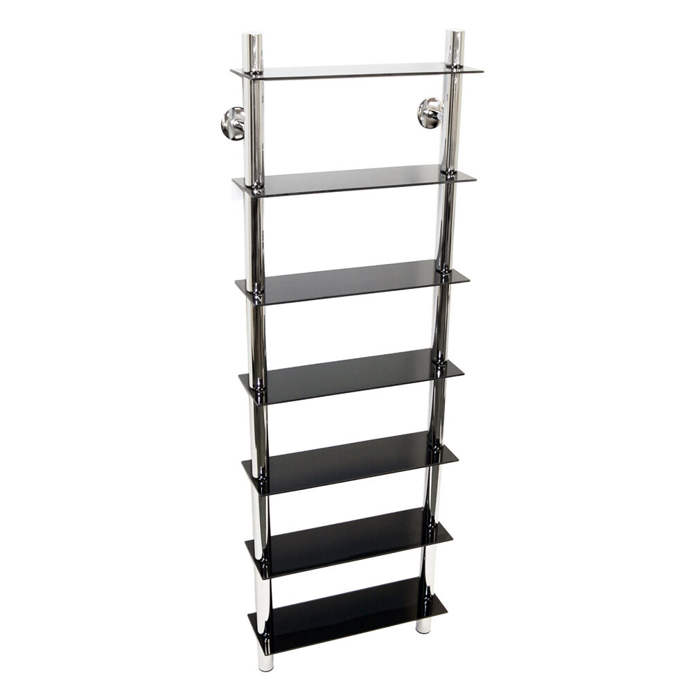 Wall Mounted Glass Chrome Cd Media Bathroom Storage Shelves Black Ch1512 Ebay