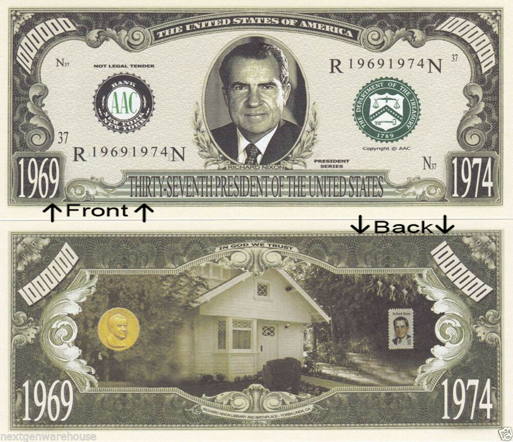 Richard Nixon Watchmen: 37th President Richard Nixon 1969-74 Novelty Bill Notes 1