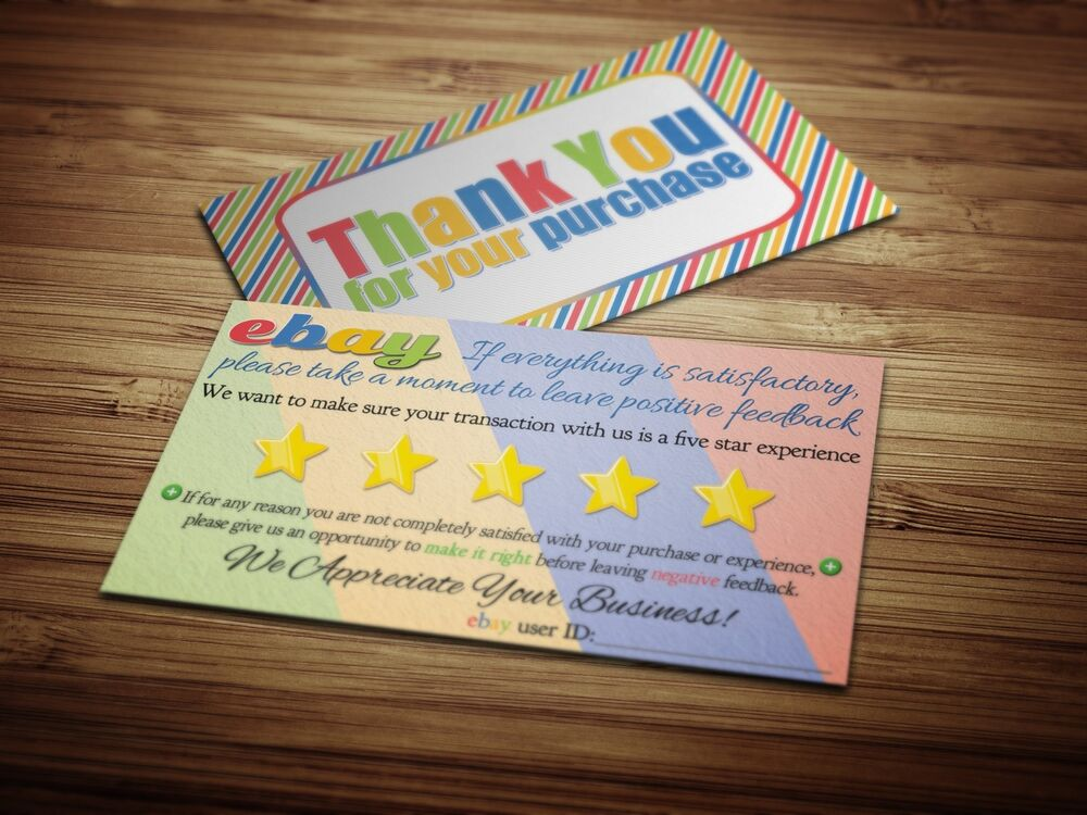 50 ebay Seller THANK YOU Business Cards 5 Five Star Rating COLORFUL ...