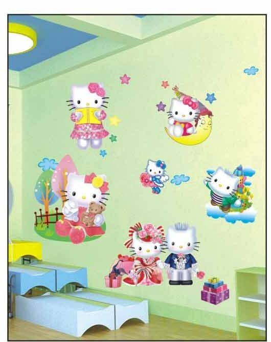 Large hello kitty 3d wall stickers for kids girls bedroom for Bedroom 3d wall stickers