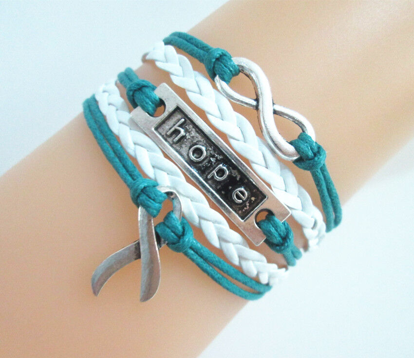 infinity cancer awareness ribbon charms leather