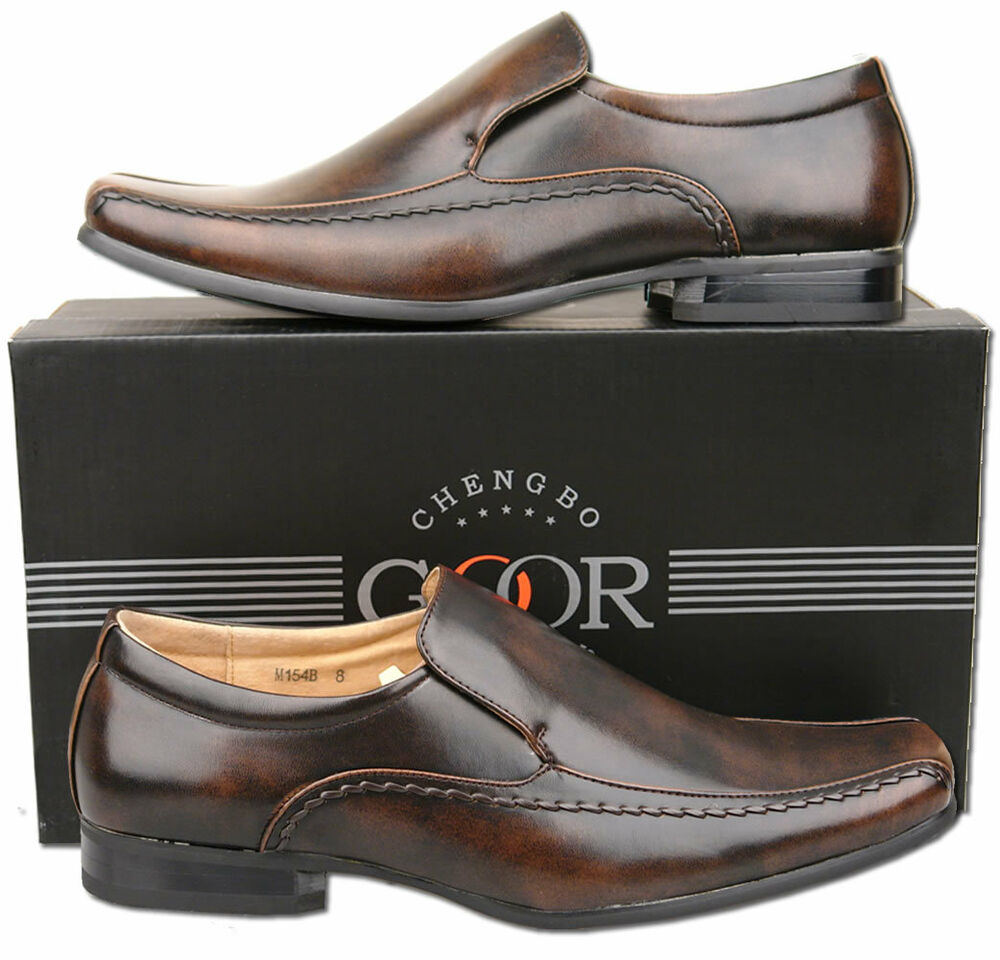 mens new brown slip on leather lined formal dress shoes