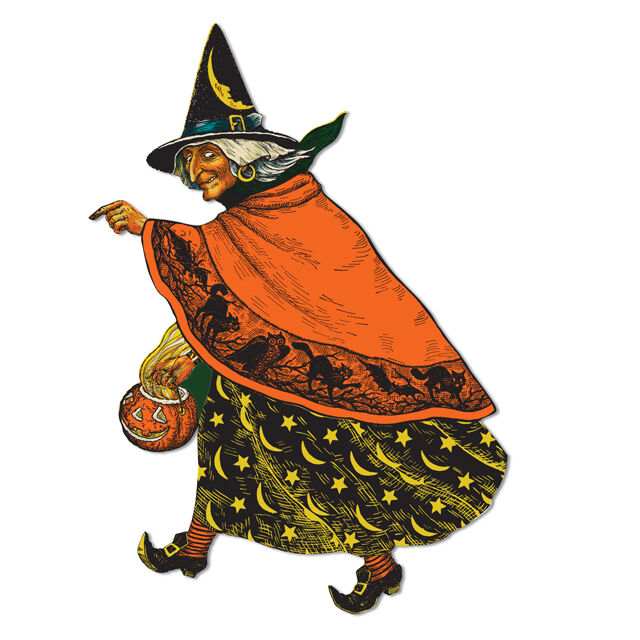 Retro classic halloween witch 19 decoration die cuts Vintage halloween decorations uk