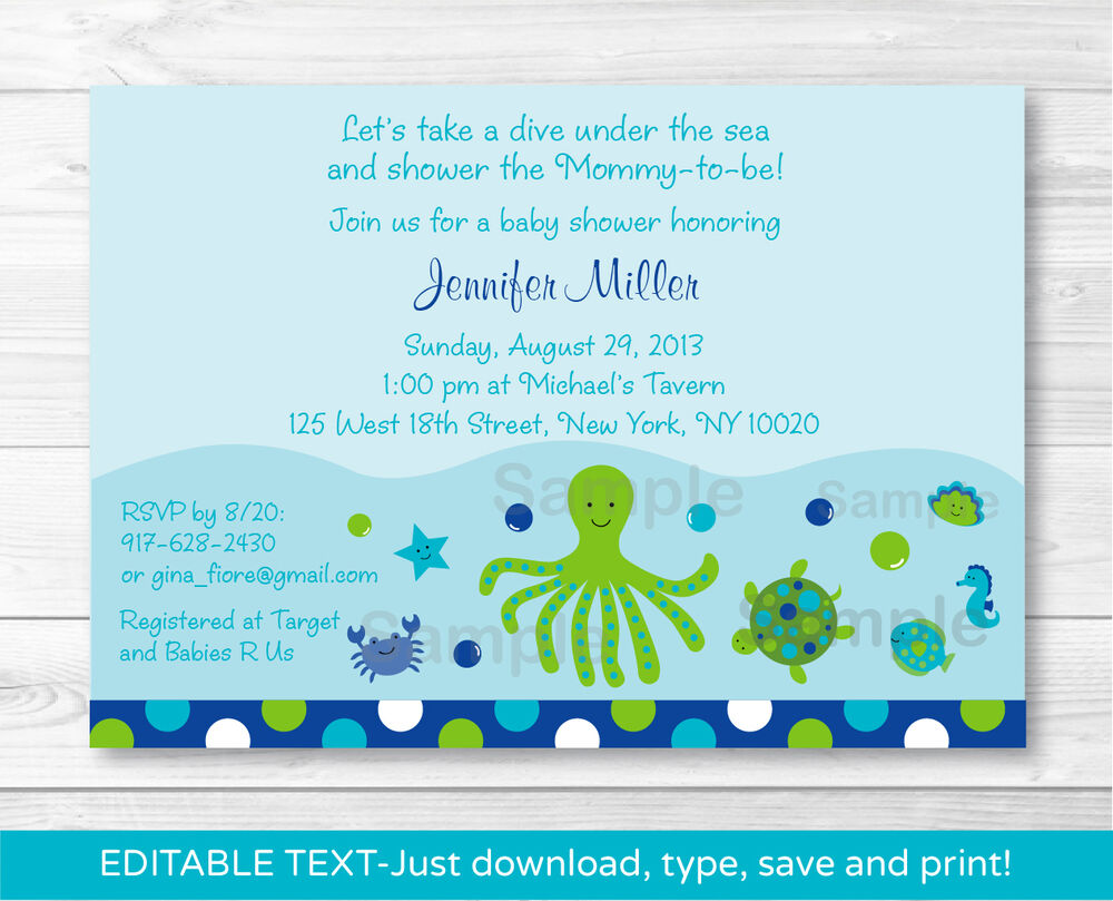 Baby Shower Gifts Under 10 Dollars ~ Under the sea nautical calypso printable baby shower